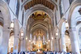 people attending wedding in church